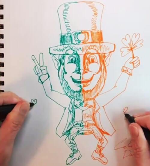 рисование двумя руками