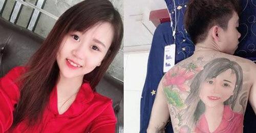 татуировка с портретом на спине