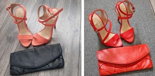 туфли покрасили в красный цвет