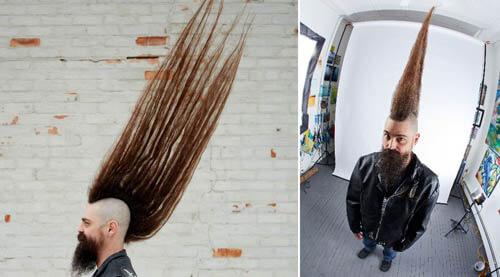 самая высокая причёска-ирокез