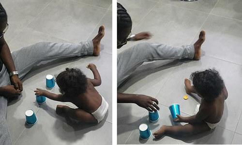 ребёнок играет в напёрстки