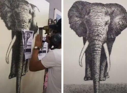 картина со слоном из гвоздей