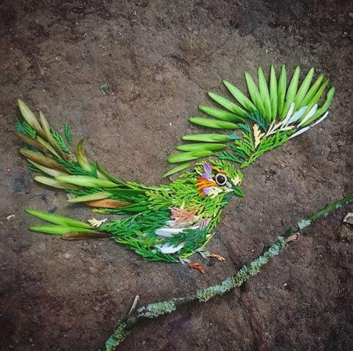 птички из веток и листьев