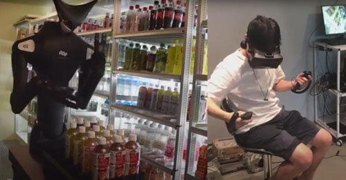 the robot arranges goods on the shelves