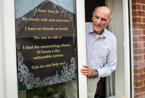 touching poster on the widower's window
