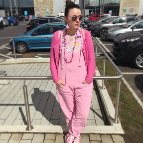 teacher in pink outfits