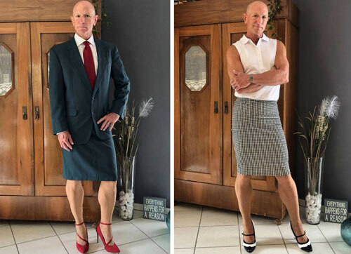 модник в женских юбках и туфлях