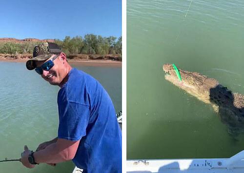 мужчина поймал крокодила
