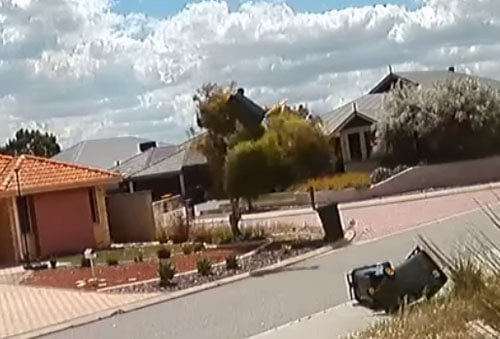 мусорные баки на сильном ветру