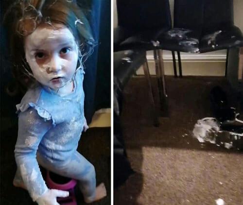 девочка устроила беспорядок