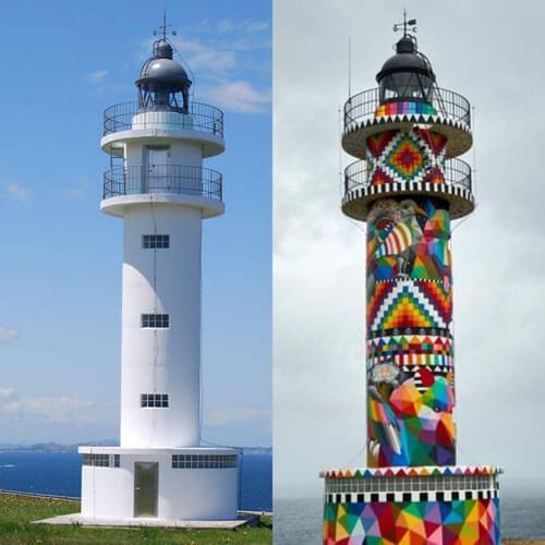 художник раскрасил маяк