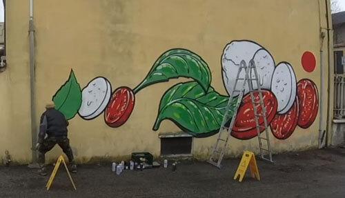 уличные рисунки с едой