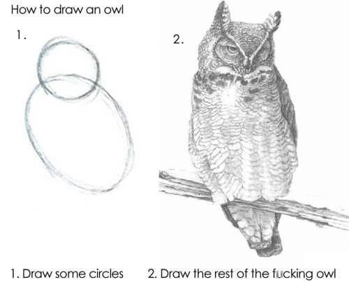 задание нарисовать сову
