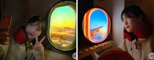 лампа в виде иллюминатора самолёта