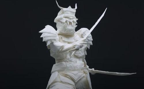 оригами в виде самурая