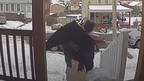 the man took out the trash and fell