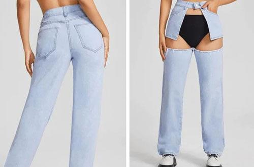 джинсы с вырезом спереди