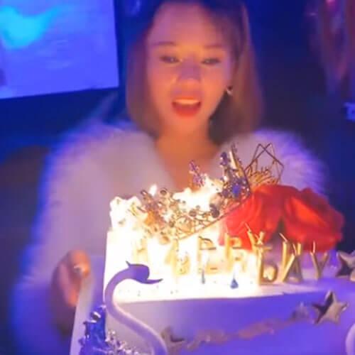 праздничный торт поджёг девушку