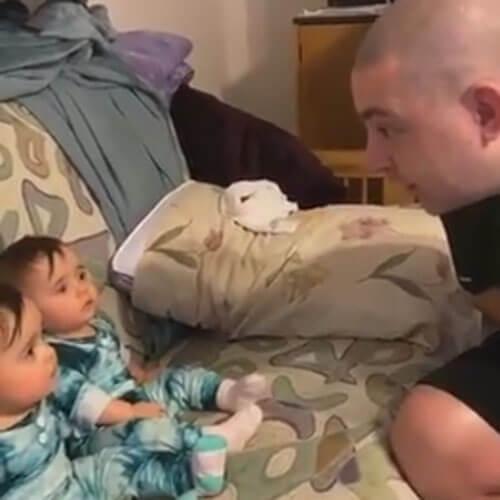 папа побрился и напугал дочек