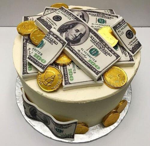 креативный торт с деньгами