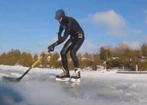 перевёрнутый хоккей подо льдом