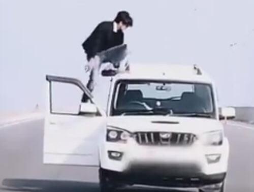 отжимания на крыше машины