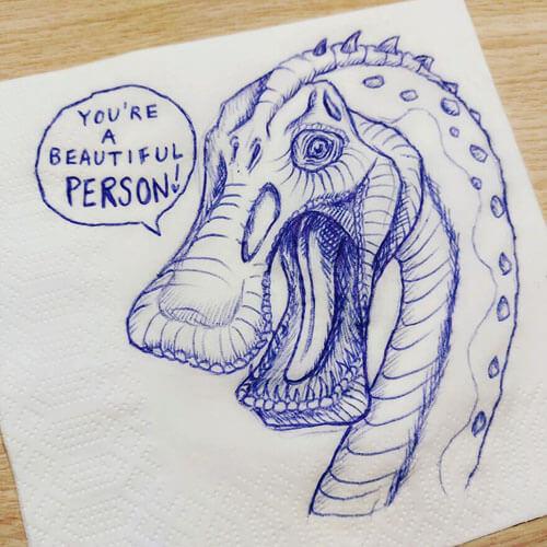 динозавры нарисованы на салфетках