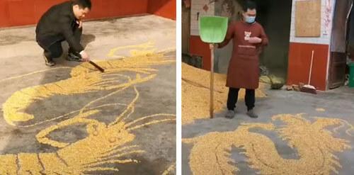 рисование во время сушки кукурузы