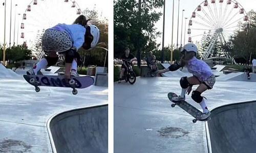 скейтбордистка не боится падать