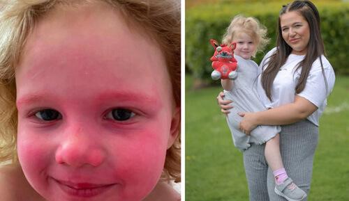 девочка намазала лицо помадой