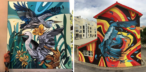 скучные улицы с яркими фресками