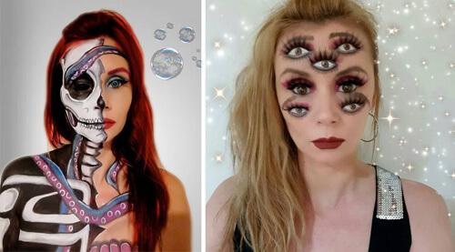 иллюзии на лице художницы