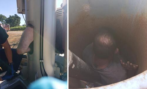 спасение мужчины из вентилятора