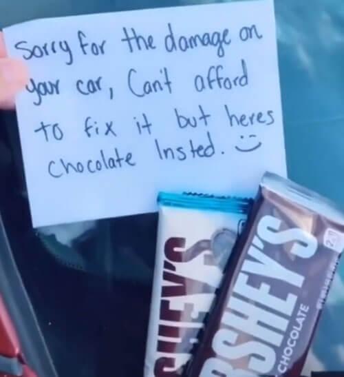 шоколад за повреждённую машину