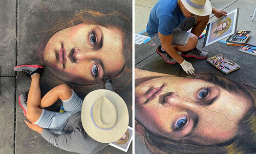 портреты мелом на асфальте