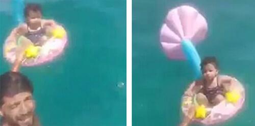 девочка на плавательном круге