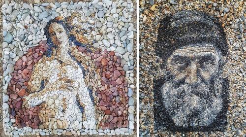 удивительные мозаики из камешков