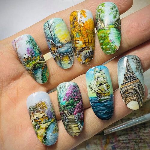 сложные картины на ногтях
