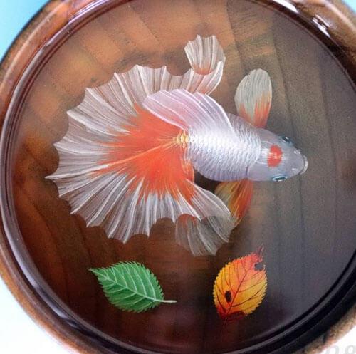 рыбки в прозрачной смоле
