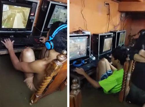 геймеры во время тайфуна