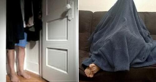 спрятался от полиции под одеялом